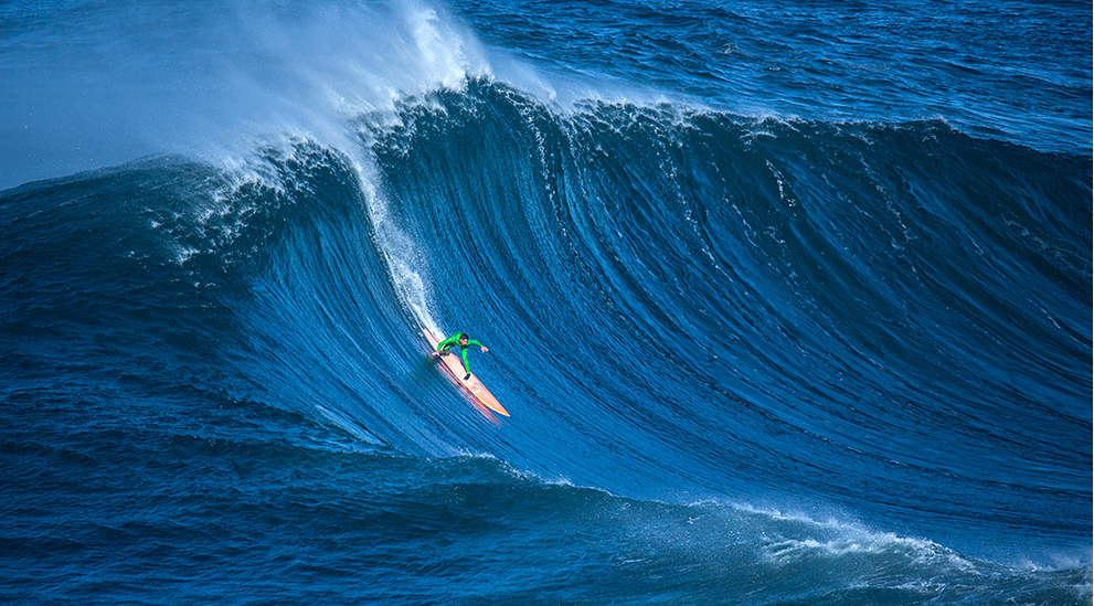Nic Lamb in a big bowl at Nazaré. photo courtesey: Surfline.com